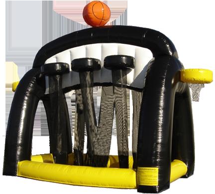 Inflatable basketball eight hoops